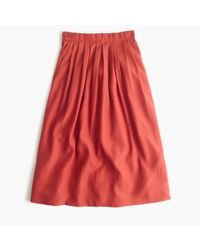 J.Crew | Red Petite Pleated Midi Skirt | Lyst