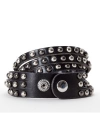 Linea Pelle | Black Double Wrap Mixed Stud Bracelet | Lyst