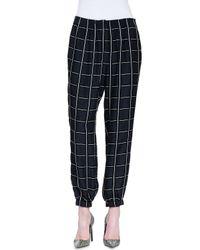 Lanvin - Black Checked Smocked Jogger Pants - Lyst