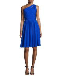 ML Monique Lhuillier - Blue One-shoulder Chiffon Cocktail Dress - Lyst
