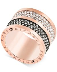 Michael Kors | Metallic Rose Gold-tone Crystal Accents Ring | Lyst