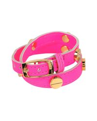 CC SKYE | Pink The Signature Screw Bracelet Double Wrap In Gold | Lyst