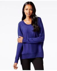 Eileen Fisher | Blue Scoop-neck Relaxed-fit Sweater | Lyst