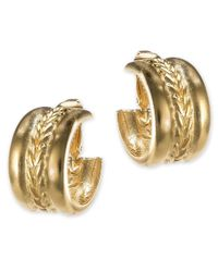 Kenneth Jay Lane | Metallic Braid Design Hoop Earring | Lyst