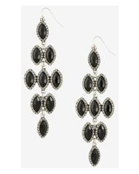 Express | Black Pave Framed Waterfall Earrings | Lyst