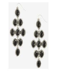 Express - Black Pave Framed Waterfall Earrings - Lyst