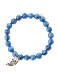 Sydney Evan | Blue 8Mm Kyanite Beaded Bracelet With 14K Gold/Diamond Medium Horn Charm (Made To Order) | Lyst