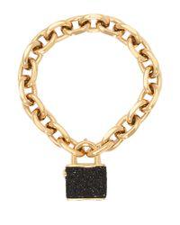 Henri Bendel | Black Jetsetter Padlock Bracelet | Lyst