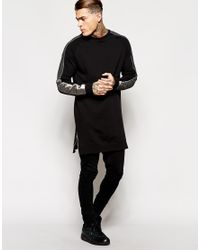 ASOS - Black Longline Sweatshirt With Sleeve Stripe & Side Zips for Men - Lyst