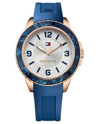 Tommy Hilfiger - Women's Blue Silicone Strap Watch 40mm 1781539 - Lyst