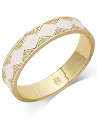 House of Harlow 1960 | White Gold-tone Leather And Crystal Pave Inlay Bangle Bracelet | Lyst