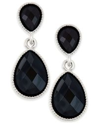 Style & Co. | Black Silver-tone Faceted Tiny Teardrop Earrings | Lyst