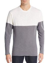 Saks Fifth Avenue | Gray Colorblock Cotton Long Sleeve Tee for Men | Lyst