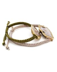 Kimberly Mcdonald | Metallic 18kt Gold, Geode And Diamond Macramé Double Bracelet | Lyst