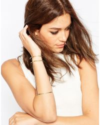 ASOS | Metallic 70s Hammered Triple Bar Cuff Bracelet | Lyst