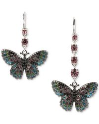 Betsey Johnson | Metallic Silver-tone Multi-crystal Pavé Butterfly Mismatch Drop Earrings | Lyst