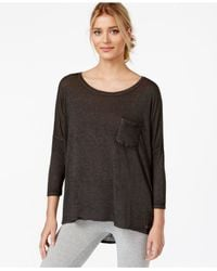 Calvin Klein - Black Performance Three-quarter-sleeve High-low T-shirt - Lyst