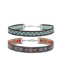 TOPSHOP | Folk Pattern Woven Fabric Chokers Set Green | Lyst