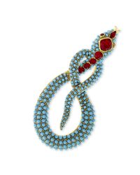Kenneth Jay Lane | Multicolor Turquoise And Ruby Snake Brooch | Lyst