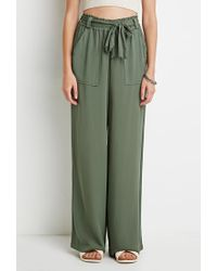 Forever 21 - Green Belted Wide-leg Pants - Lyst
