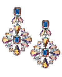 Kate Spade | Metallic Gold-tone Iridescent Glass Stone Chandelier Earrings | Lyst