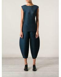 Pleats Please Issey Miyake - Blue Wide Leg Cropped Trousers - Lyst
