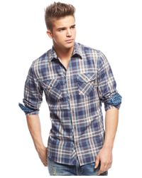 Guess - Blue Broadway Plaid Shirt for Men - Lyst