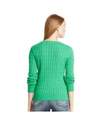 Polo Ralph Lauren - Green Cabled Cotton V-neck Sweater - Lyst