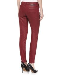 Stella McCartney - Red Amber Coated Denim Biker Jeans - Lyst
