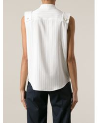 Chloé - White Sleeveless Striped Blouse - Lyst
