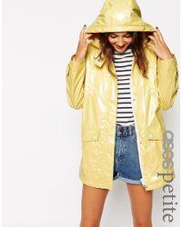 ASOS - Yellow High Shine Rain Mac - Lyst