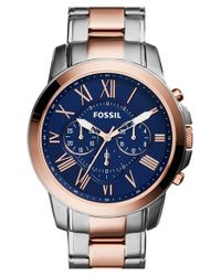 Fossil | Blue 'grant' Chronograph Bracelet Watch for Men | Lyst