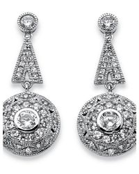 Palmbeach Jewelry - Metallic 2.29 Tcw Geometric Art Deco-inspired Drop Earrings In Platinum Over .925 Sterling Silver - Lyst