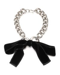 Alexander McQueen - Metallic Ribbon Bow Chain Necklace - Lyst