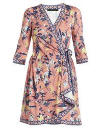 BCBGMAXAZRIA | Blue Adele Printed Wrap Dress | Lyst