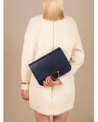 Danielle Foster - Blue Kit Clutch Bag In Smooth Navy With D Buckle - Last One - Lyst