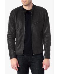 7 For All Mankind Black Leather Biker Jacket for men