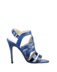 Ivanka Trump | Blue Snakeskin Embossed Cage Sandals | Lyst