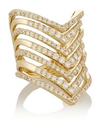 Lynn Ban - Metallic Chevron 14-Karat Gold Diamond Phalanx Ring - Lyst