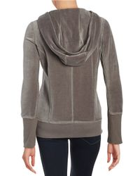 Calvin Klein | Gray Asymmetrical-zip Velour Hoodie | Lyst
