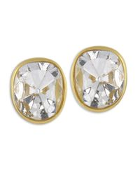 Kenneth Jay Lane | Metallic Gold And Crystal Clip Earring | Lyst