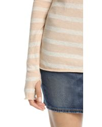 Enza Costa - Natural Striped Crew Top - Nude/Oatmeal - Lyst