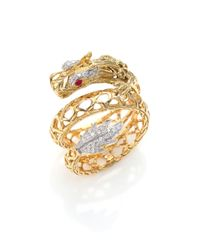John Hardy | Metallic Naga Diamond, Ruby & 18k Yellow Gold Dragon Coil Ring | Lyst