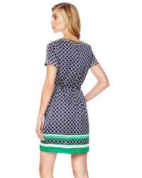 Michael Kors - Green Michael Printed Satin Drawstring Dress - Lyst