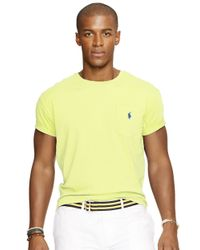 Polo Ralph Lauren | Yellow Classic-fit Jersey Pocket Crewneck for Men | Lyst