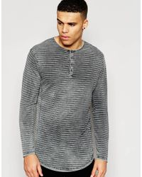 Pull&Bear - Gray Long Sleeve T-shirt With Stripes In Acid Wash for Men - Lyst