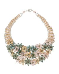 Panacea | Multicolor Pastel Crystal Flower Bib Necklace | Lyst