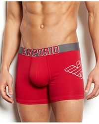 Emporio Armani | Red Men's Strech Cotton Eagle Boxer Briefs for Men | Lyst