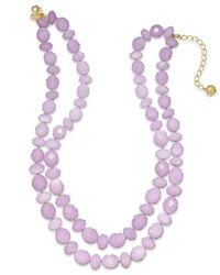 kate spade new york | Gold-Tone Purple Stone Two-Row Necklace | Lyst