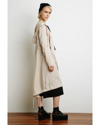 Forever 21 | Brown Hooded Asymmetrical Longline Jacket | Lyst